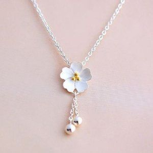 NEW 925 Sterling Silver Cherry Blossom Necklace
